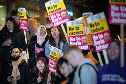 © Licensed to London News Pictures. 19/11/2019. Salford, UK. A protest takes place outside the venue . Conservative Party leader Boris Johnson and Labour Party leader Jeremy Corbyn attend a televised election hustings at ITV Studios at Media City as part of their respective campaigns to win the upcoming general election and become the next British Prime Minister . Photo credit: Joel Goodman/LNP