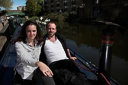 UK ENGLAND LONDON 30APR16 - London Canal boat residents Duncan Stevens and his parter Keziah Moynihan on their boat, the 'Gremlin' near Haggerston, east London.<br /> <br /> <br /> <br /> jre/Photo by Jiri Rezac<br /> <br /> <br /> <br /> © Jiri Rezac 2016