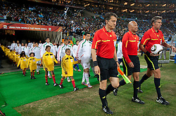 Referee Paolo Calcagno, Stefano Ayroldi and Roberto Rosetti of Italy during the 2010 FIFA World Cup South Africa Round of Sixteen match between Argentina and Mexico at Soccer City Stadium on June 27, 2010 in Johannesburg, South Africa. (Photo by Vid Ponikvar / Sportida)