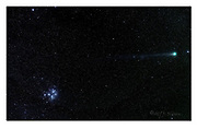 Comet C/2011 W3 Lovejoy and the open cluster Messier 45 (Pleiades) on the 21st of January 2015 photographed from south-western Norway. A total of15x30 secs exporsures stacked, FL=105mm, f3.5.