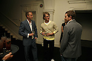James Hopkins, Ian Munro and Matt Watkins, VIP opening of Bill Viola exhibition Love/Death: The Tristan project. Haunch of Venison, St Olave's College, Tooley St. London and Dinner afterwards at Banqueting House. Whitehall. 19 June 2006. ONE TIME USE ONLY - DO NOT ARCHIVE  © Copyright Photograph by Dafydd Jones 66 Stockwell Park Rd. London SW9 0DA Tel 020 7733 0108 www.dafjones.com