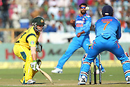 Phillip Hughes of Australia looks on as the ball comes in  during the 2nd One Day International (ODI) match in the Star Sports Series between India and Australia held at the Sawai Mansingh Stadium in Jaipur on the 16th October 2013<br /> <br /> Photo by Ron Gaunt-BCCI-SPORTZPICS<br /> <br /> Use of this image is subject to the terms and conditions as outlined by the BCCI. These terms can be found by following this link:<br /> <br /> http://sportzpics.photoshelter.com/gallery/BCCI-Image-terms-and-conditions/G00004IIt7eWyCv4/C0000ubZaQCkIRgQ