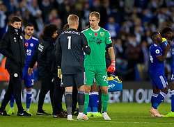 LEICESTER, ENGLAND - Saturday, November 10, 2018: Burnley's goalkeeper Tom Heaton embraces Leicester City's goalkeeper Kasper Schmeichel after the FA Premier League match between Leicester City FC and Burnley FC at the King Power Stadium. (Pic by David Rawcliffe/Propaganda)