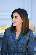 Queen Letizia of Spain attended an official lunch at Palacio de la Zarzuela on April 16, 2018 in Madrid, Spain