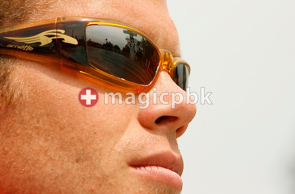 Swimmer Dominik Meichtry of Switzerland  is pictured while watching the scene on day two at the Swiss Summer Swimming Championships (Swiss Open) at the Sportbad St. Jakob in Basel, Switzerland, Saturday July 22, 2006. (Photo by Patrick B. Kraemer / MAGICPBK)