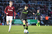 Forest Green Rovers forward (on loan from Celtic) Jack Aitchison (29)  sprints forward with the ball  under pressure from Northampton Town midfielder Ryan Watson (8) during the EFL Sky Bet League 2 match between Northampton Town and Forest Green Rovers at the PTS Academy Stadium, Northampton, England on 14 December 2019.