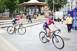 Nikola Noskova (CZE) of BePink Cycling Team rides to the start of the Durango-Durango Emakumeen Saria - a 113 km road race, starting and finishing in Durango on May 16, 2017, in the Basque Country, Spain.