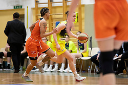 Janeesa Jeffery of MBK Ruzomberok and Andjela Delic of ZKK Cinkarna Celje in action during basketball match between ZKK Cinkarna Celje (SLO) and MBK Ruzomberok (SVK) in Round #6 of Women EuroCup 2018/19, on December 13, 2018 in Gimnazija Celje Center, Celje, Slovenia. Photo by Urban Urbanc / Sportida
