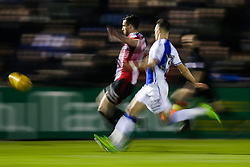 Jake Wright of Sheffield United is challenged by Billy Bodin of Bristol Rovers - Rogan Thomson/JMP - 14/02/2017 - FOOTBALL - Memorial Stadium - Bristol, England - Bristol Rovers v Sheffield United - Sky Bet League One.