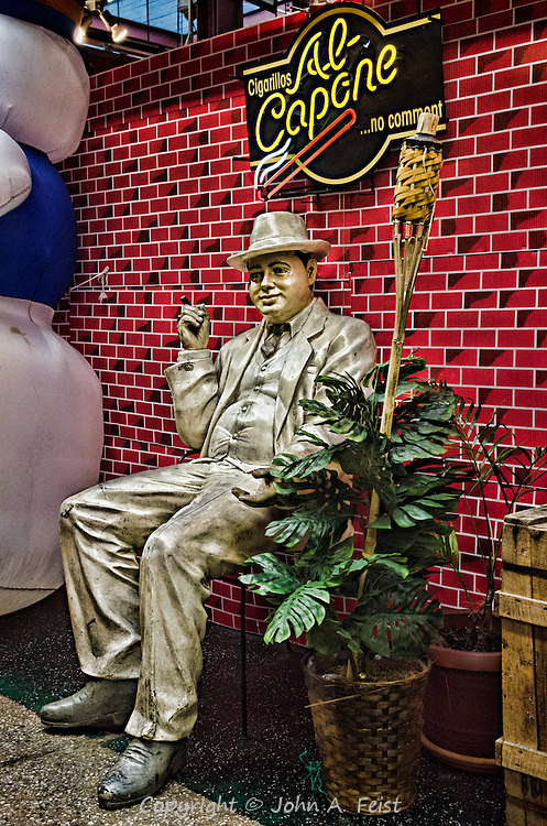I came upon this scene in the Arthur Avenue Retail Market, on Arthur Avenue in the Bronx, N.Y.  I did a double take when I first saw this little scene.  It does look a bit like Mr. Capone.  I was equally amused by the tiki torch right ned to him!