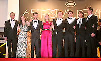 Viggo Mortensen, Kristen Stewart, Tom Sturridge, Kirsten Dunst, Danny Morgan, Sam Riley, Director Walter Salles, Garret Hedlund, at the On The Road gala screening red carpet at the 65th Cannes Film Festival France. The film is based on the book of the same name by beat writer Jack Kerouak and directed by Walter Salles. Wednesday 23rd May 2012 in Cannes Film Festival, France.