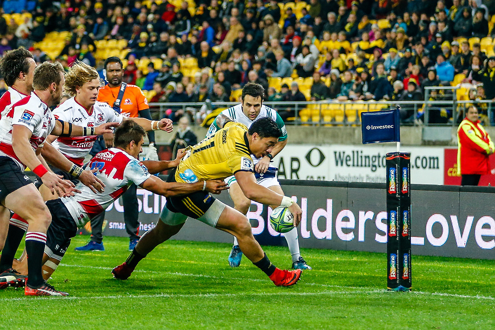 Ben Lam reaches-out to score during the Super rugby (Round 12) match played between Hurricanes  v Lions, at Westpac Stadium, Wellington, New Zealand, on 5 May 2018.  Hurricanes won 28-19.