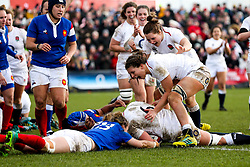 Poppy Cleall of England Women scores a try - Mandatory by-line: Robbie Stephenson/JMP - 10/02/2019 - RUGBY - Castle Park - Doncaster, England - England Women v France Women - Women's Six Nations