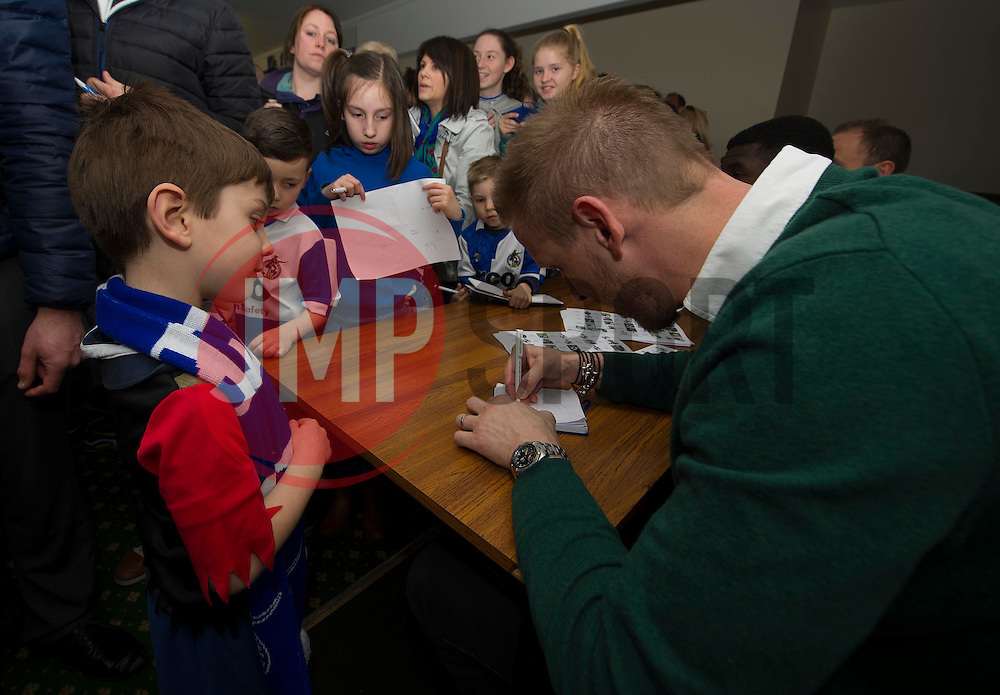 Bristol Rovers players Sign autographs.  - Photo mandatory by-line: Alex James/JMP - Mobile: 07966 386802 - 31/03/2015 - SPORT - Football - Bristol - Memorial Stadium - Vanarama Football Conference - Bristol Rovers Open Training Session