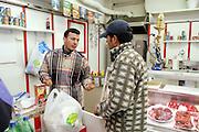 Islamic butcher's shop at Lecco street in Milan January 26, 2004...26 JAN 2004 MILAN : MACELLERIA ISLAMICA IN VIA LECCO. .