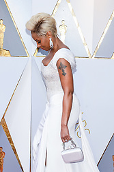 Mary J. Blige walking on the red carpet during the 90th Academy Awards ceremony, presented by the Academy of Motion Picture Arts and Sciences, held at the Dolby Theatre in Hollywood, California on March 4, 2018. (Photo by Anthony Behar/Sipa USA)