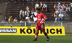 BERLIN, GERMANY - Sunday, August 7, 1994: Liverpool's Robbie Fowler with the match-ball after scoring a hat-tick of left foot finishes during a preseason friendly between Hertha BSC Berlin and Liverpool FC at the Olympiastadion. Liverpool won 3-0. (Pic by David Rawcliffe/Propaganda)