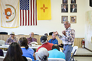 Navajo community leader Daniel Tso speaks at a meeting at the chapter house in Counselor New Mexico where the Bureau of Land Management was hearing public comments on proposed new sites for leasing rights to additional drilling in the San Juan Basin.