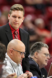08 November 2015: John Twork(standing). Illinois State Redbirds host the Southern Indiana Screaming Eagles and beat them 88-81 in an exhibition game at Redbird Arena in Normal Illinois (Photo by Alan Look)