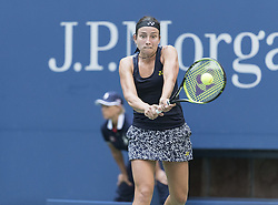 September 5, 2017 - New York, New York, United States - Anastasija Sevastova of Latvia returns ball during match against Sloane Stephens of USA at US Open Championships at Billie Jean King National Tennis Center  (Credit Image: © Lev Radin/Pacific Press via ZUMA Wire)