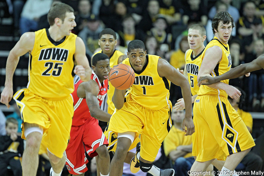 January 07, 2011: Iowa Hawkeyes forward Melsahn Basabe (1) brings the ball down court during the the NCAA basketball game between the Ohio State Buckeyes and the Iowa Hawkeyes at Carver-Hawkeye Arena in Iowa City, Iowa on Saturday, January 7, 2012.