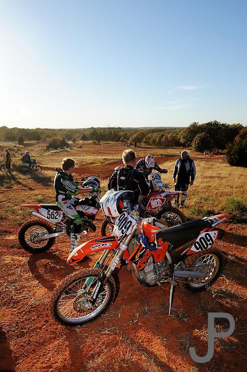 Off-road motorcycle racing in Oklahoma.