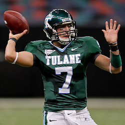 Oct 17, 2009; New Orleans, LA, USA; Tulane Green Wave quarterback Joe Kemp (7) throws a pass against the Houston Cougars during a game at the Louisiana Superdome. Houston defeated Tulane 44-16.   Mandatory Credit: Derick E. Hingle-US PRESSWIRE