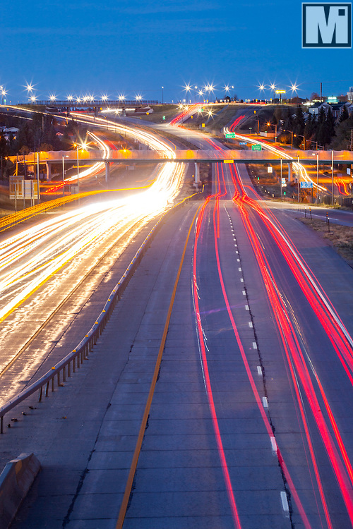 Traffic on Interstate 25 and Central Avenue in Cheyenne, Wyoming.