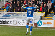 GOAL - Sam Szmodics taunts the Rotherham fans after scoring during the EFL Sky Bet League 1 match between Peterborough United and Rotherham United at London Road, Peterborough, England on 25 January 2020.