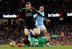 Ederson of Manchester City challenges Jamie Vardy of Leicester City - Mandatory by-line: Matt McNulty/JMP - 10/02/2018 - FOOTBALL - Etihad Stadium - Manchester, England - Manchester City v Leicester City - Premier League