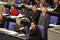 17 OCT 2003, BERLIN/GERMANY:<br /> Joschka Fischer, B90/Gruene, Bundesaussenminister, Wolfgang Clement, SPD, Bundeswirtschaftsminister, Gerhard Schroeder, SPD, Bundeskanzler, Otto Schily, SPD, Bundesinnenminister, (v.L.n.R.), waehrend einer namentlichen Abstimmung, Plenum, Deutscher Bundestag<br /> IMAGE: 20031017-01-103<br /> KEYWORDS: Gerhard Schröder
