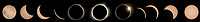 Composite of solar eclipse stages images showing partial, Bailey's Beads, Totality, Diamond Ring and back to partial eclipse.
