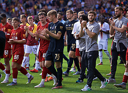 BRADFORD, ENGLAND - Saturday, July 13, 2019: Liverpool's goalkeeper Daniel Atherton and Adam Lallana during a lap of honour after a pre-season friendly match between Bradford City AFC and Liverpool FC at Valley Parade. (Pic by David Rawcliffe/Propaganda)