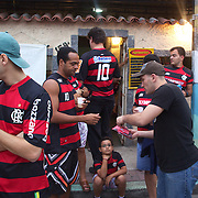 Flamengo fans congrigate outside the ground before their teams match against Palmeiras in the Futebol Brasileirao  League match at Estadio Olímpico Joao Havelange, Rio de Janeiro, Palmeiras won the match 3-1. Rio de Janeiro,  Brazil. 25th September 2010. Photo Tim Clayton