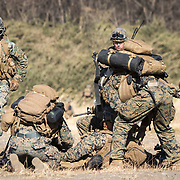 GUNMA, JAPAN - MARCH 10 : US Marines take up defensive position as they train with Japan's Ground Self Defense Force in a joint training drill in JGSDF Camp Soumagahara , Gunma prefecture, Japan on March 10, 2017. (Photo: Richard Atrero de Guzman/ANADOLU Agency)