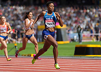 Athletics - 2017 IAAF London World Athletics Championships - Day Three, Morning Session<br /> <br /> 400m Women - Round One<br /> <br /> Phyllis Francis (United States)  leads down the home straight at the London Stadium <br /> <br /> <br /> COLORSPORT/DANIEL BEARHAM