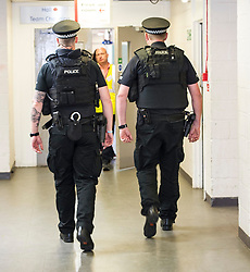Pictured: A heavy police presence was on view at the Edinburgh Count with armed officers patrolling the counting halls.<br /> <br /> <br /> <br /> Ger Harley | EEm 9 June 2017