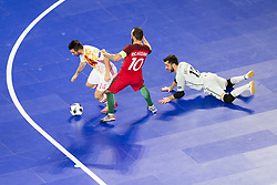 Alex of Spain and Ricardinho of Portugal during futsal match between Portugal and Spain in Final match of UEFA Futsal EURO 2018, on February 10, 2018 in Arena Stozice, Ljubljana, Slovenia. Photo by Urban Urbanc / Sportida