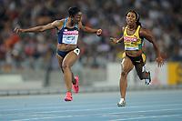 ATHLETICS - IAAF WORLD CHAMPIONSHIPS 2011 - DAEGU (KOR) - DAY 3 - 29/08/2011 - WOMEN 100M FINAL - CAMELITA JETER (USA) / WINNER - SHELLY-ANN FRASER-PRYCE (JAM) - PHOTO : FRANCK FAUGERE / KMSP / DPPI