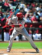 Apr. 10 2011; Phoenix, AZ, USA; Cincinnati Reds infielder Brandon Phillips (4) stands at bat against the Arizona Diamondbacks at Chase Field. Mandatory Credit: Jennifer Stewart-US PRESSWIRE..