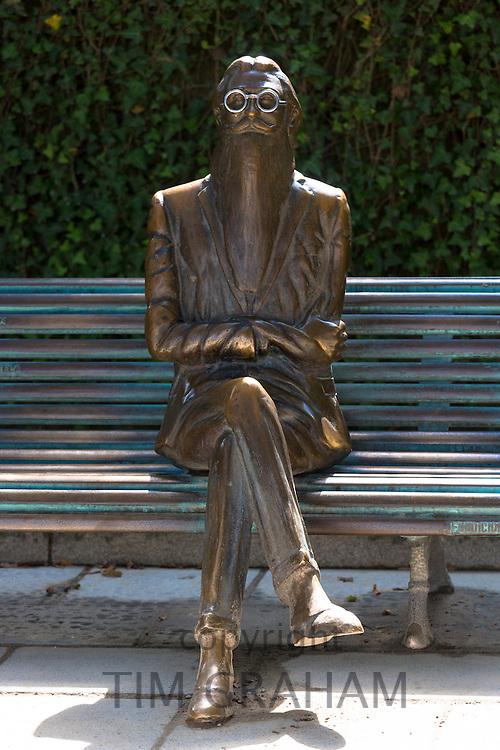 Bronze statue of Don Ramon Maria Del Valle-Inclan by sculptor Cesar Lombera in Alamada Park in Santiago de Compostela, Spain