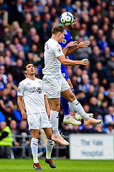 Callum Paterson of Cardiff City contends for the aerial ball with Matthew Lowton of Burnley - Mandatory by-line: Ryan Hiscott/JMP - 30/09/2018 -  FOOTBALL - Cardiff City Stadium - Cardiff, Wales -  Cardiff City v Burnley - Premier League