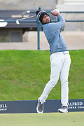 US Ryder Cup player, Tony Finau, tees off during round three of the Alfred Dunhill Links Championships 2018 at St Andrews, West Sands, Scotland on 6 October 2018.