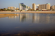 Israel, Ashdod skyline and coastline as seen from west