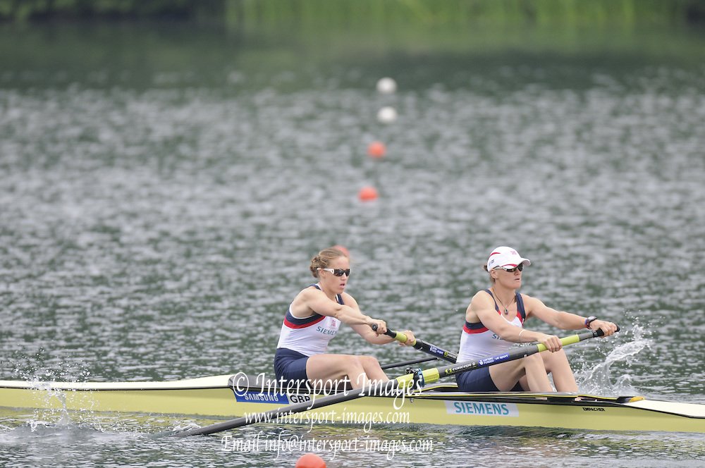 Lucerne, SWITZERLAND.   GBR W2- Bow. Helen GLOVER and Heather Stanning, moving away from the start at the 2012 FISA World Cup II, Lucerne Regatta.  Rotsee Rowing Course,  Friday  25/05/2012  [Mandatory Credit Peter Spurrier/ Intersport Images]