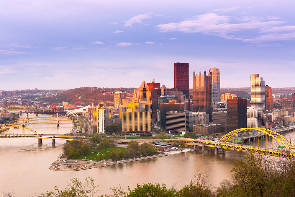 Panoramic view of Pittsburgh and the 3 rivers, Pittsburgh, Pennsylvania, USA