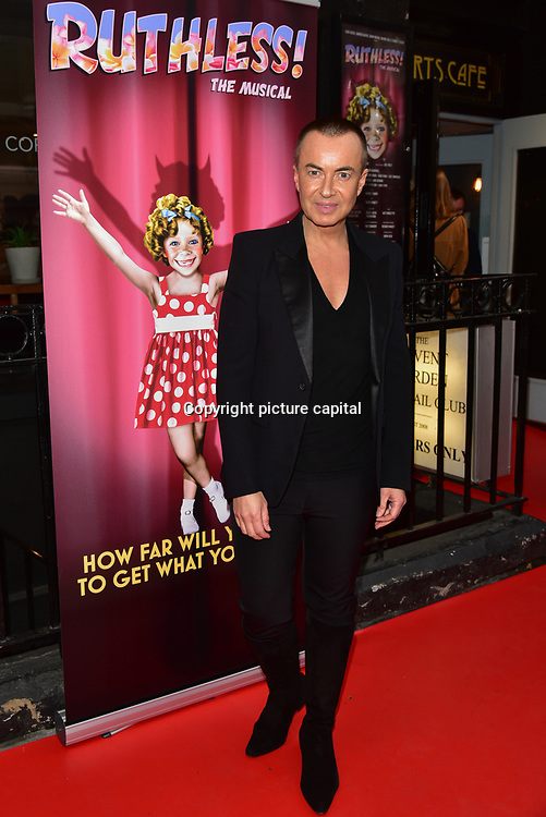 Julien MacDonald arrives at Ruthless! The Musical - Arts Theatre opening night on 27 March 2018  at Arts Theatre, London, UK.