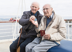 Over 250 guests including 42 veterans involved in the Arctic Convoys during WWII will attend a reception on the evening of Tuesday 30th August arranged by the Consulate General of Russia, to celebrate the 75th Anniversary since the first ship left the West coast of Scotland. Each veteran will be presented with a medal and a book to commemorate the anniversary.<br /> <br /> Pictured: John Lawrie and Donald Dawkins (Arctic Convoy veterans)