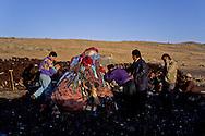 """Mongolia. ovo, animist monument  Eej Had       / ovo lieu priere chamanique   Eej Had  Mongolie Ovo, lieu de prière traditionnel qui parsèment la steppe. Cet ovo à """"Heej Hat"""" est appelé la """"mère"""" le muret qui l'entoure est constitué de plaquettes de thé.  / R87/166    L921015b  /  P0005113"""