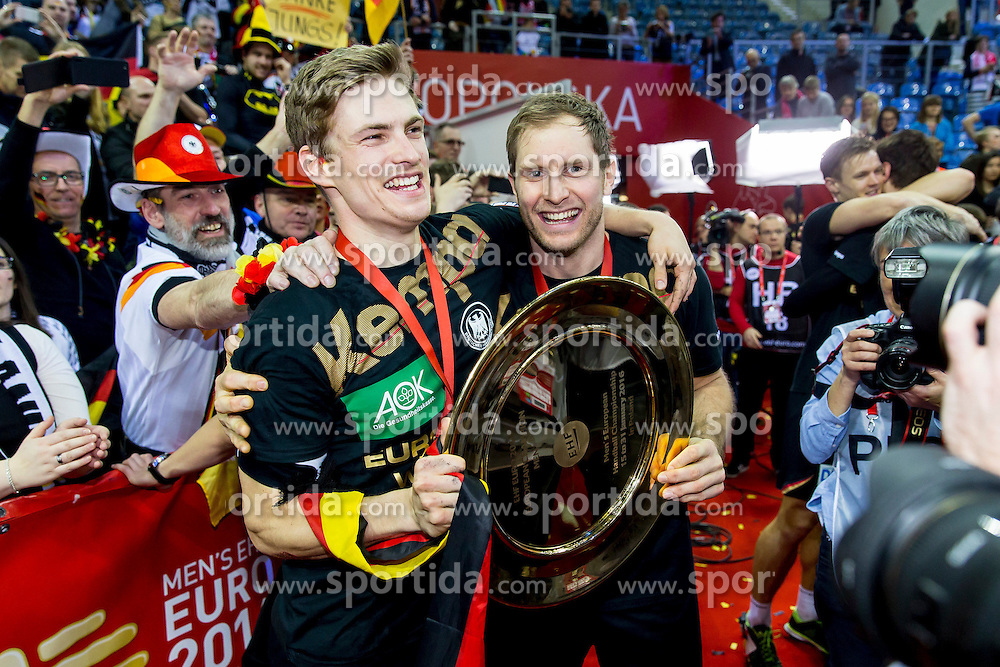 31.01.2016, Tauron Arena, Krakau, POL, EHF Euro 2016, Deutschalnd vs Spanien, Siegerehrung, im Bild Rune Dahmke (Nr 34, THW Kiel) und Steffen Weinhold (Nr 17, THW Kiel) mit der Schale // during the award winner ceremony of 2016 EHF Euro at the Tauron Arena in Krakau, Poland on 2016/01/31. EXPA Pictures &copy; 2016, PhotoCredit: EXPA/ Eibner-Pressefoto/ Koenig<br /> <br /> *****ATTENTION - OUT of GER*****